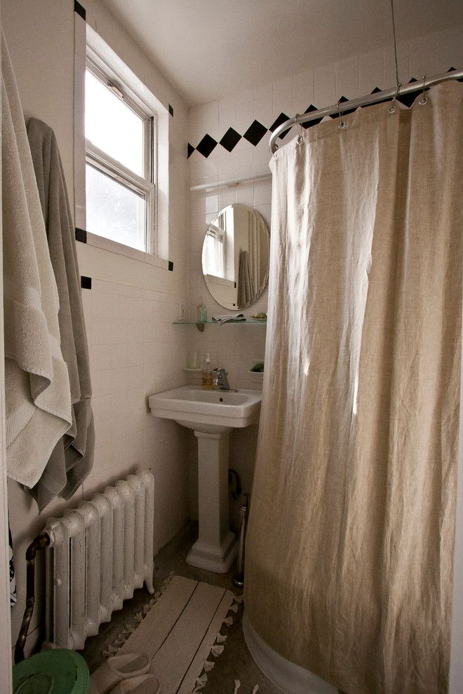 Drop Cloth Curtains for a Eclectic Bathroom with a Eclectic and Aya's Boerum Hill Home by Chris a Dorsey Photography