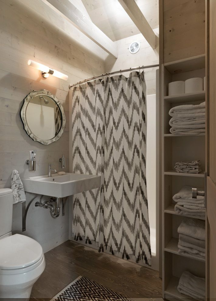 Drop Cloth Curtains for a Rustic Bathroom with a Mirror Framed Mirror and Haven by Cushman Design Group