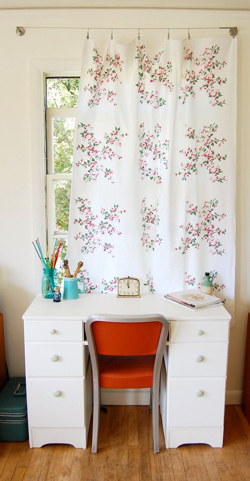 Drop Cloth Curtains for a Shabby Chic Style Home Office with a Floral Curtain Panel and Summer Lounge by Lola Nova