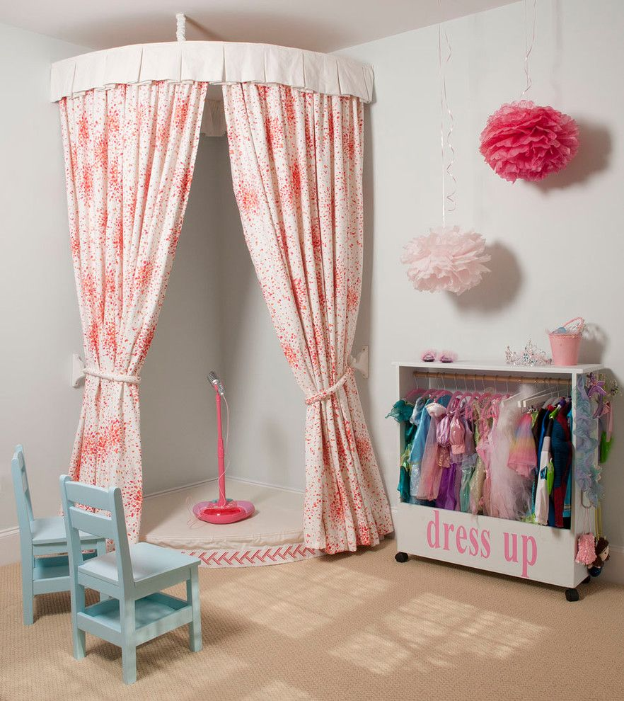 Drop Cloth Curtains for a Traditional Kids with a Light Blue Chairs and Playroom by Liz Carroll Interiors