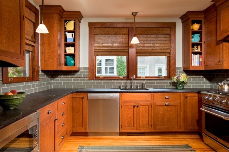 Drop Cloth Curtains for a Traditional Kitchen with a Traditional and Culinary Craftsman by Teakwood Builders, Inc.