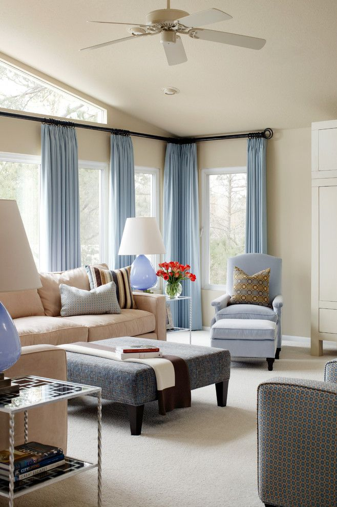 Drop Cloth Curtains for a Transitional Living Room with a Blue Table Lamps and Glenwood Residence by Tobi Fairley Interior Design