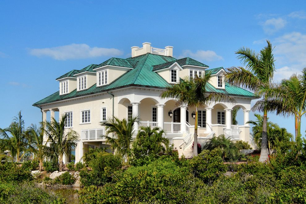 Dryvit for a Beach Style Exterior with a Standing Seam Roof and Custom Homes by John F. Heltzel Aia Architects