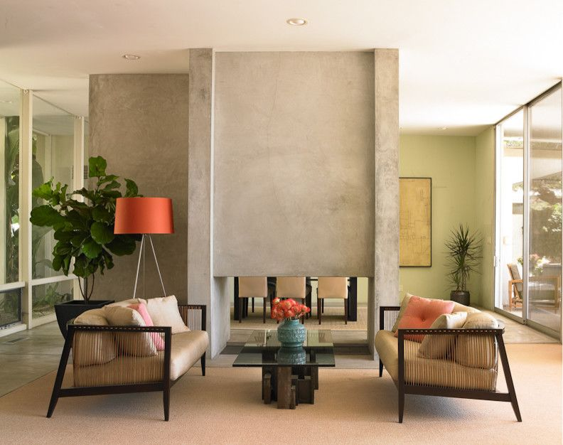 Dunn Edwards Paint for a Beach Style Living Room with a Orange Lamp and Coastal Modern by Dunn Edwards Paints