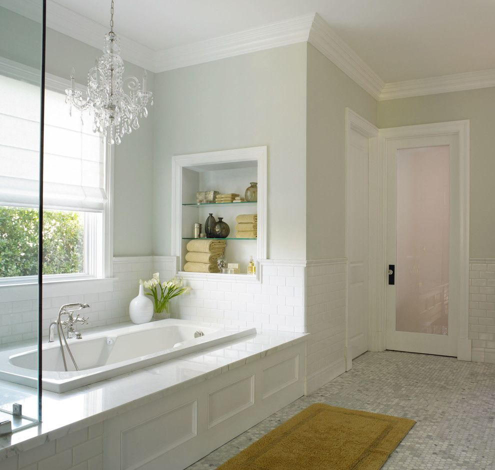 Dunn Edwards Paint for a Traditional Spaces with a 3x6 Subway Tile and California Traditional by Dunn Edwards Paints