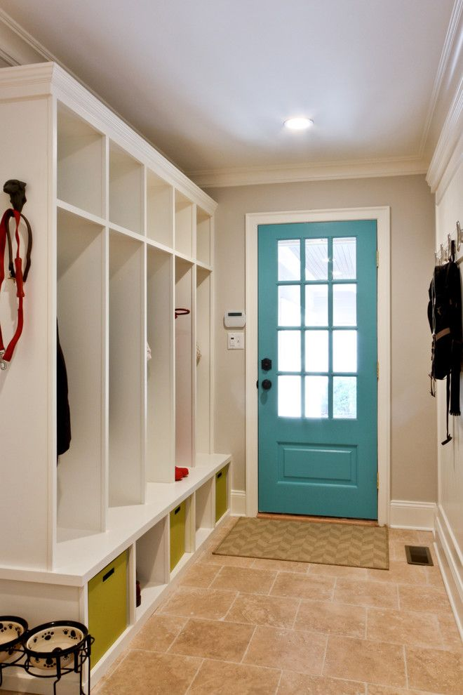 Dunn Edwards Paints for a Traditional Entry with a Lockers and Classic Coastal Colonial Renovation - the Mudroom by Michael Robert Construction