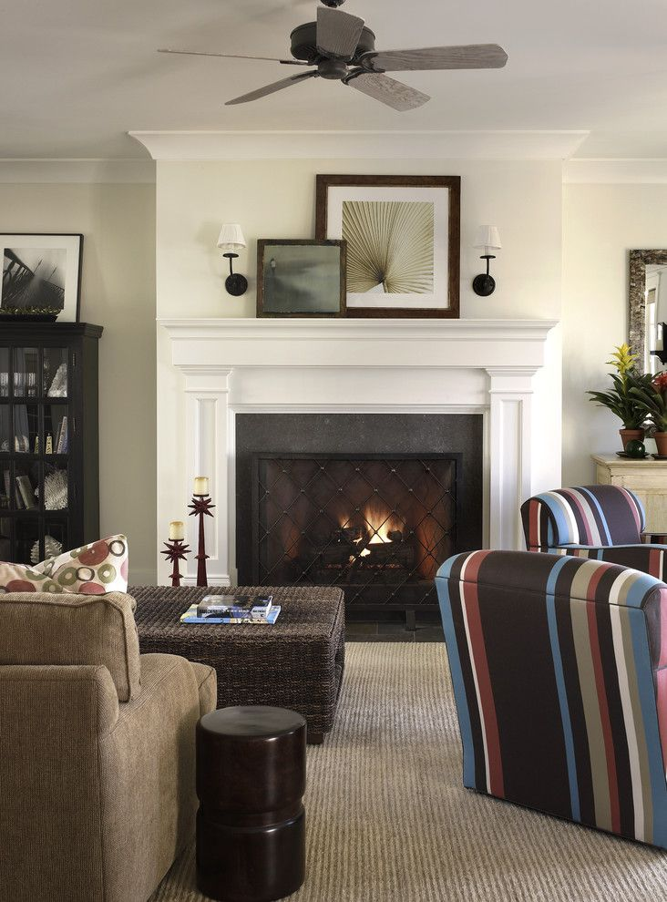 Dunn Edwards Swiss Coffee for a Eclectic Living Room with a Eclectic and Beach Getaway by Tommy Chambers Interiors, Inc.