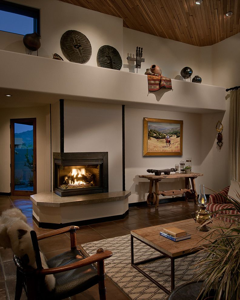 Dunn Edwards Swiss Coffee for a Southwestern Family Room with a Hearth and Arizona Ranch by Angelica Henry Design