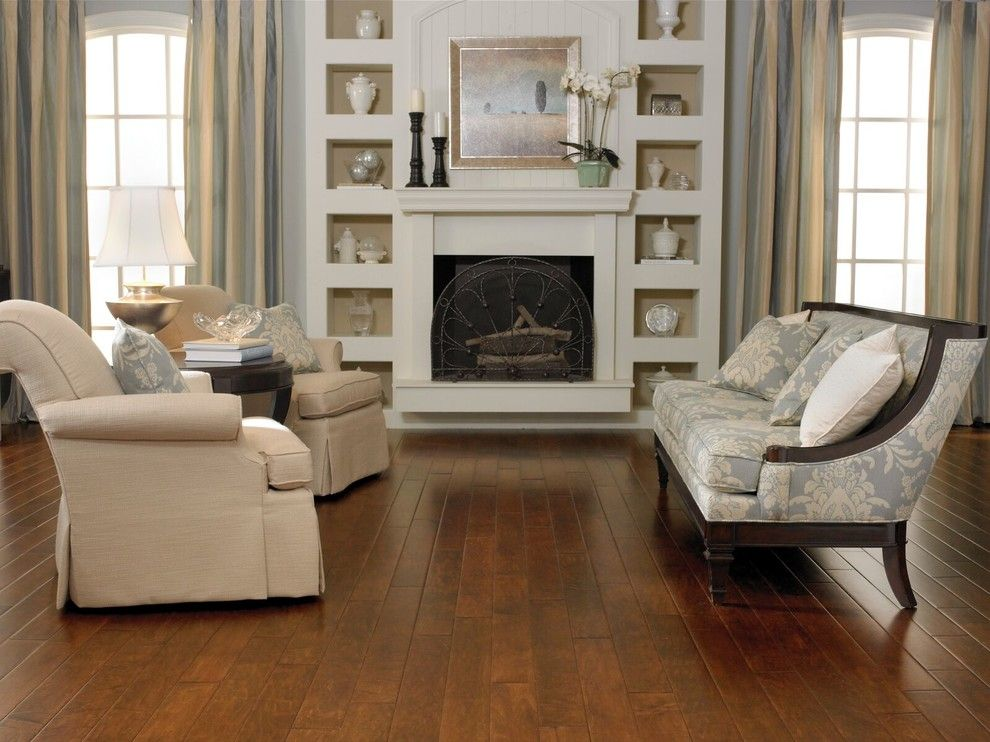 Dunn Edwards Swiss Coffee for a Traditional Living Room with a Hardwood and Living Room by Carpet One Floor & Home