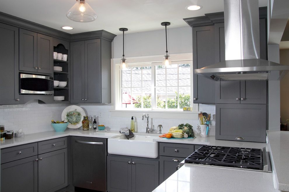 Dura Supreme for a Transitional Kitchen with a Look Through and Kitchen Fun with Storm Gray by Dura Supreme Cabinetry