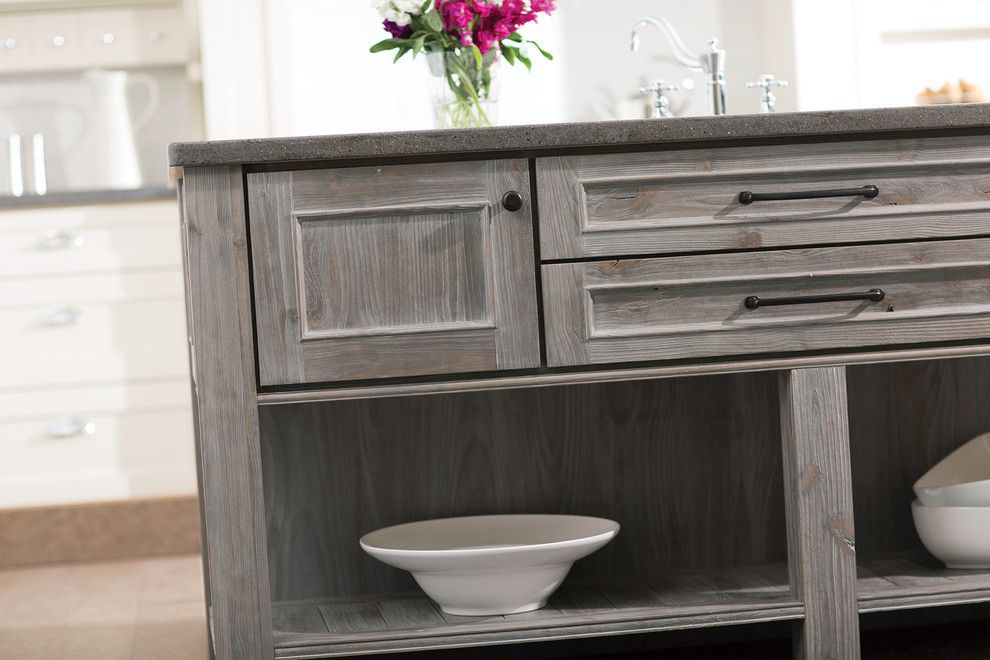 Dura Supreme for a Transitional Kitchen with a Supreme and Weathered Wood Kitchen Island by Dura Supreme Cabinetry