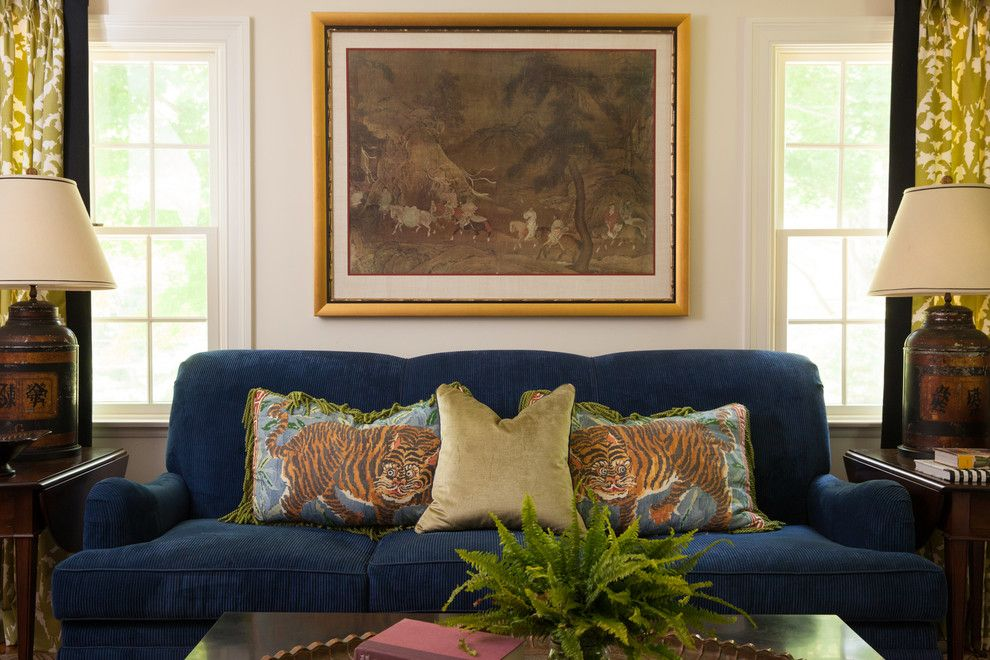 Duralee for a Traditional Living Room with a Tiger Pillows and Peckham Hill by Kim Macumber Interiors