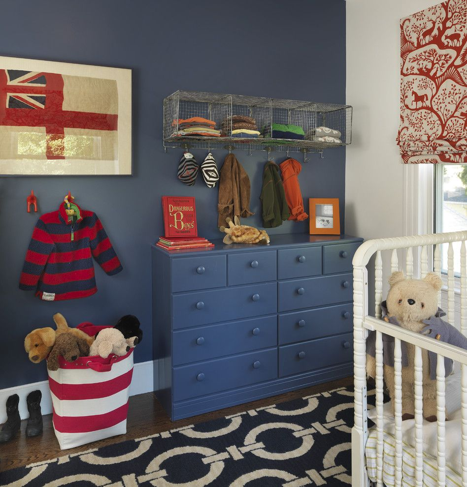 Duralee for a Traditional Nursery with a Toy Storage and Kids Room by Kate Jackson Design