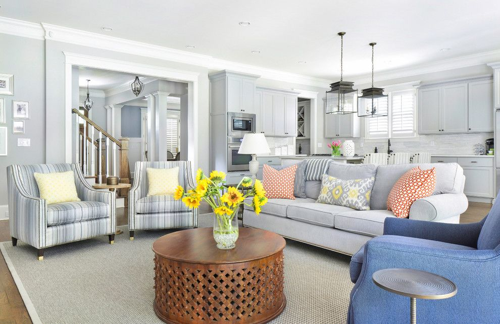 Duralee for a Transitional Family Room with a Ballard Design Gray Lamp and Brookhaven Living Room Remodel   Atlanta by Rachel Oliver Design, Llc