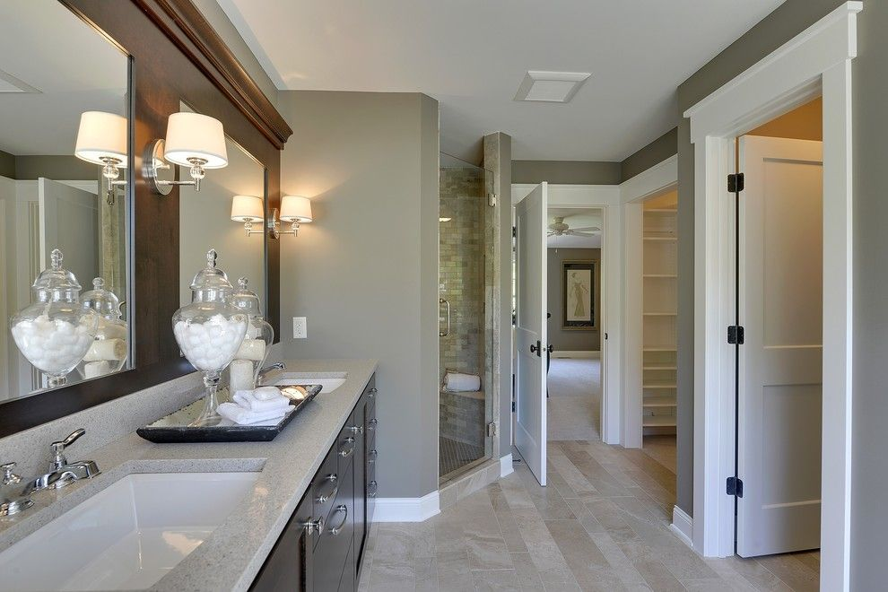 Durango Doors for a Traditional Bathroom with a Corner Shower and 2013 Fall Parade of Homes by Highmark Builders