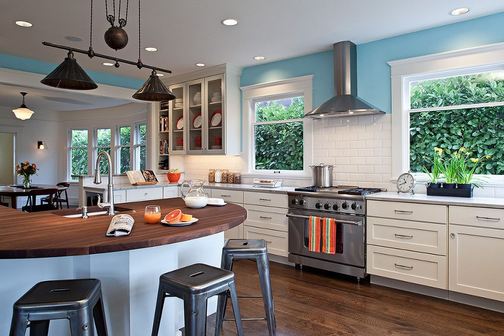 Duraseal Stain for a Contemporary Kitchen with a Sky Blue Walls and Kitchens by Potter Construction Inc