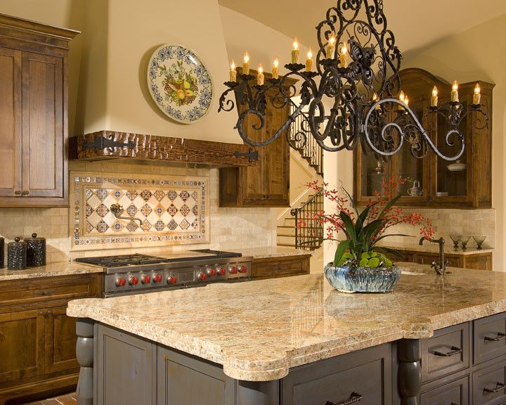 Duraseal Stain for a Mediterranean Kitchen with a Painted Island and Spanish Mediterranean by Astleford Interiors, Inc.
