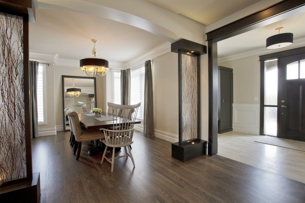 Duraseal Stain for a Transitional Dining Room with a Light Wood Floor and Kalimar Homes  Aspen by a Collaborative Design Group