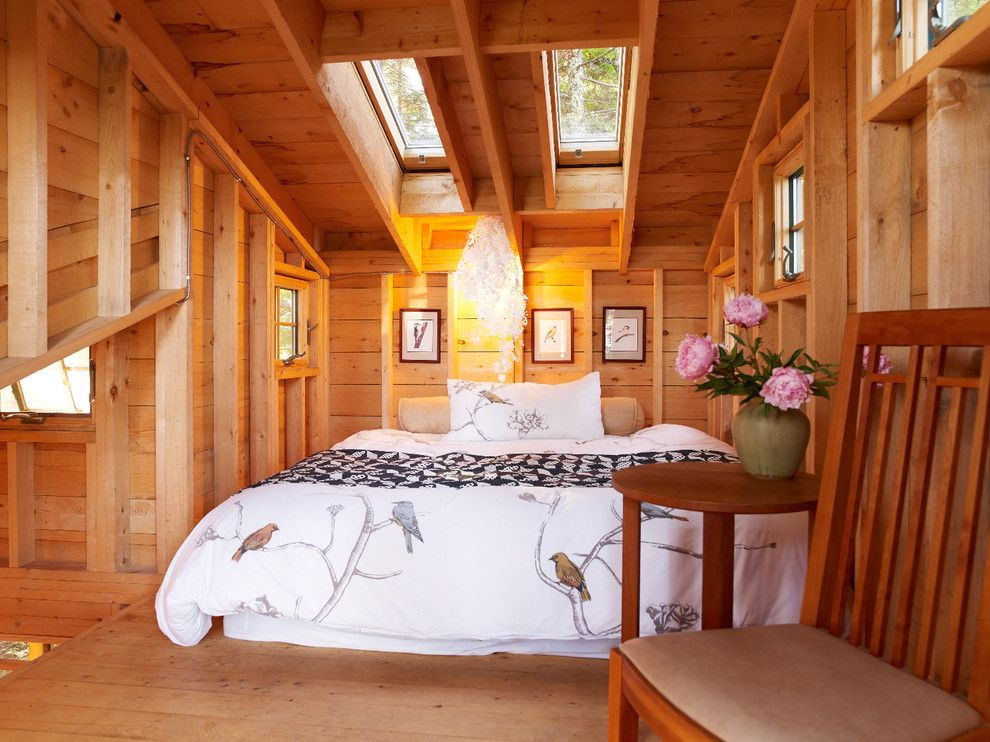 Duvet Cover Definition for a Rustic Bedroom with a Bedroom Loft and Island Treehouse, Coast of Maine by David Matero Architecture