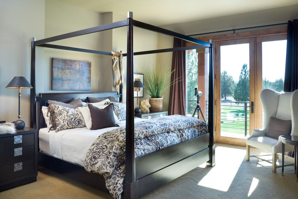Duvet Cover Definition for a Rustic Bedroom with a Master Suite and True Residence by Alan Mascord Design Associates Inc