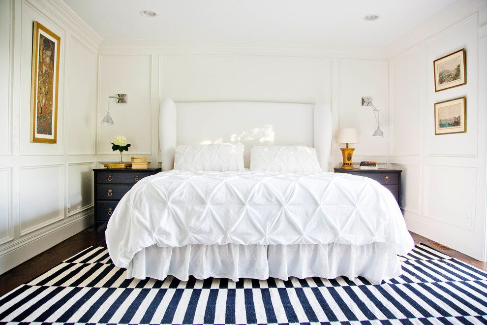 Duvet Cover Definition for a Transitional Bedroom with a Wainscot and Graphic Master Bedroom by White + Gold Design