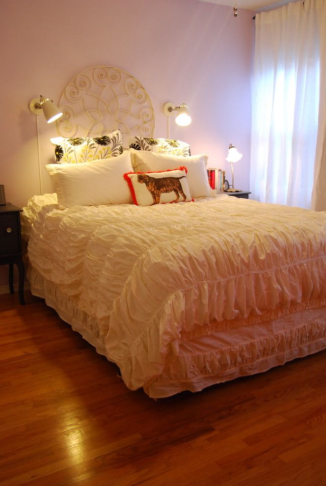 Duvet Definition for a Eclectic Bedroom with a Curtains and a Fun Rental! by Nicole Lanteri Design
