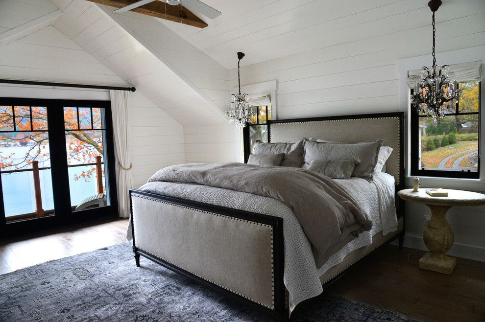 Duvet Definition for a Farmhouse Bedroom with a French Door and Lake Home by a Perfect Placement