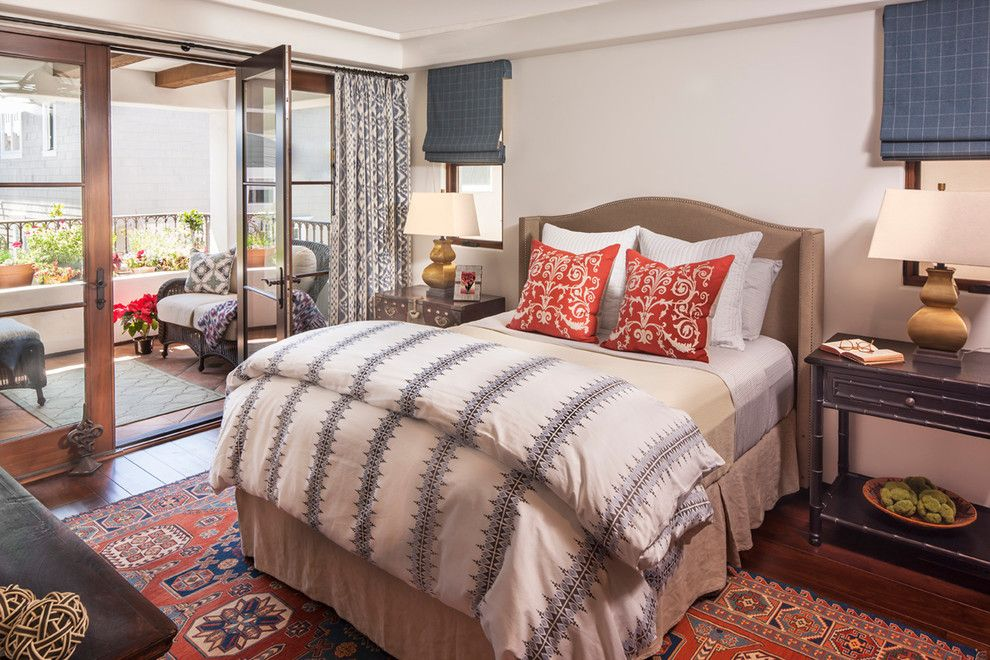 Duvet Definition for a Mediterranean Bedroom with a Red Accent Pillows and Spanish Coastal by Norman Design Group, Inc.