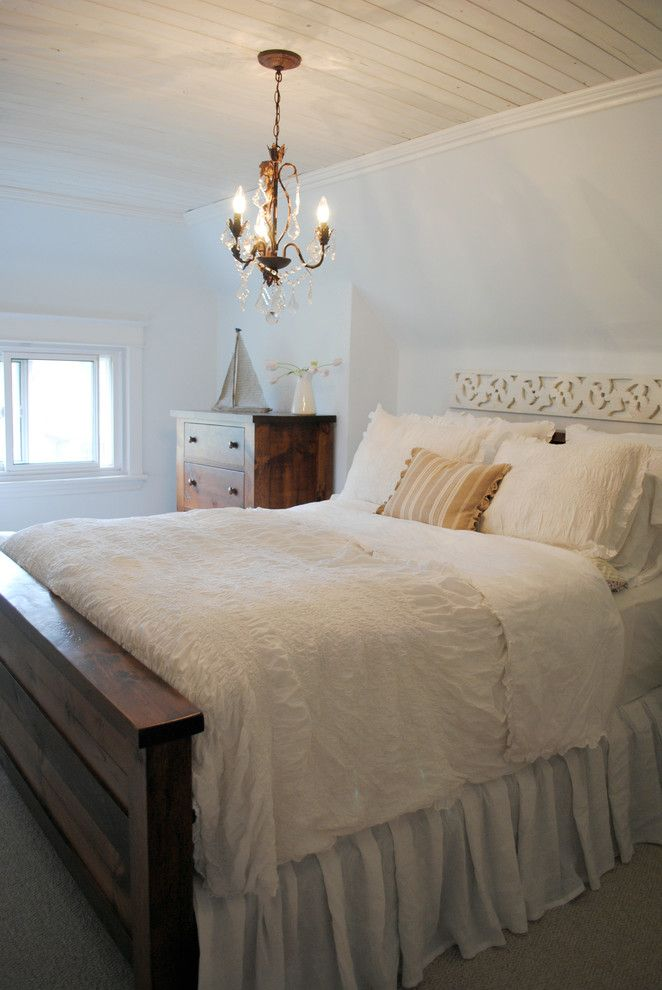 Duvet Definition for a Shabby Chic Style Bedroom with a Chandelier and Canadian Cottage by Janicemarie