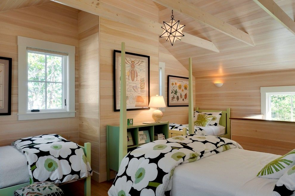Duvet vs Comforter for a Beach Style Bedroom with a Bunk Room and Wharf House by Wright-Ryan Homes