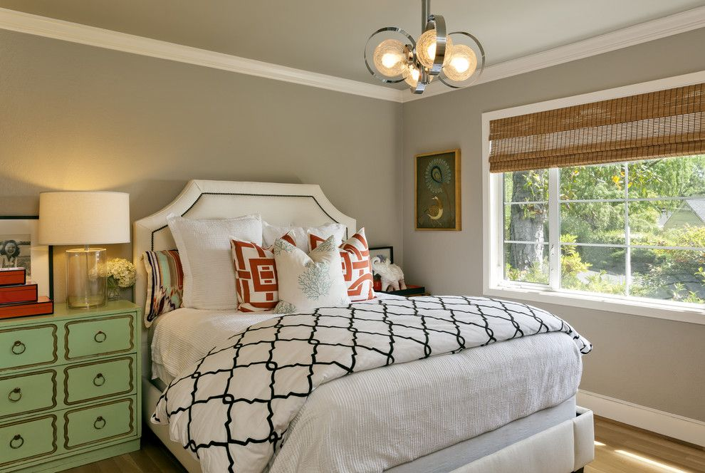 Duvet vs Comforter for a Contemporary Bedroom with a Mixed Patterns and Contemporary Transitional Eclectic Guest Room / Office by Holly Bender Interiors
