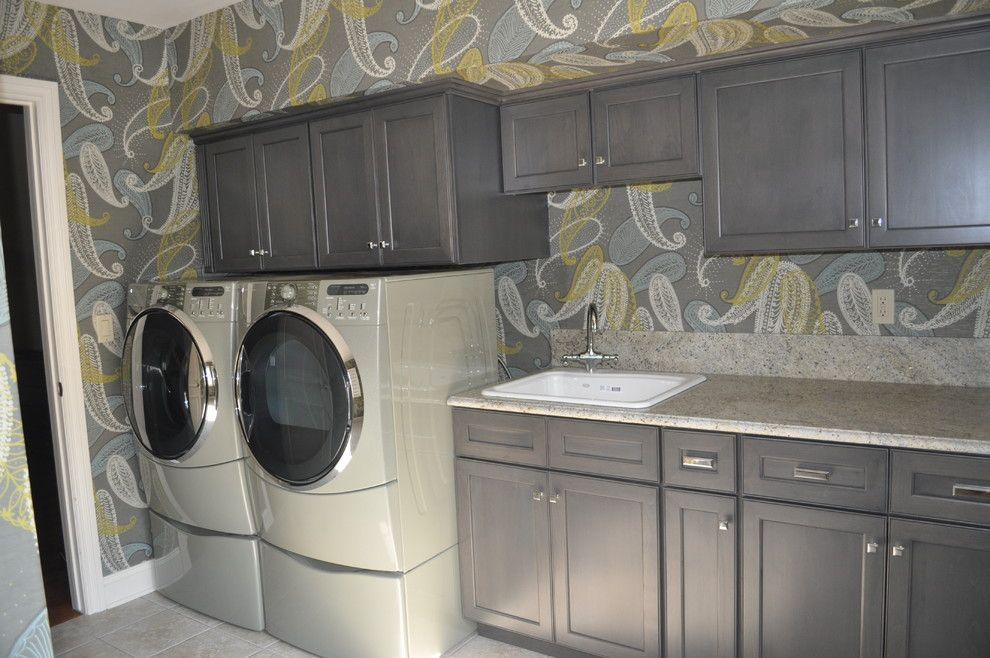 Dynasty Cabinets for a Transitional Laundry Room with a Ballard Dry Rack and Laundry Redo by Joan Gilbert Designs