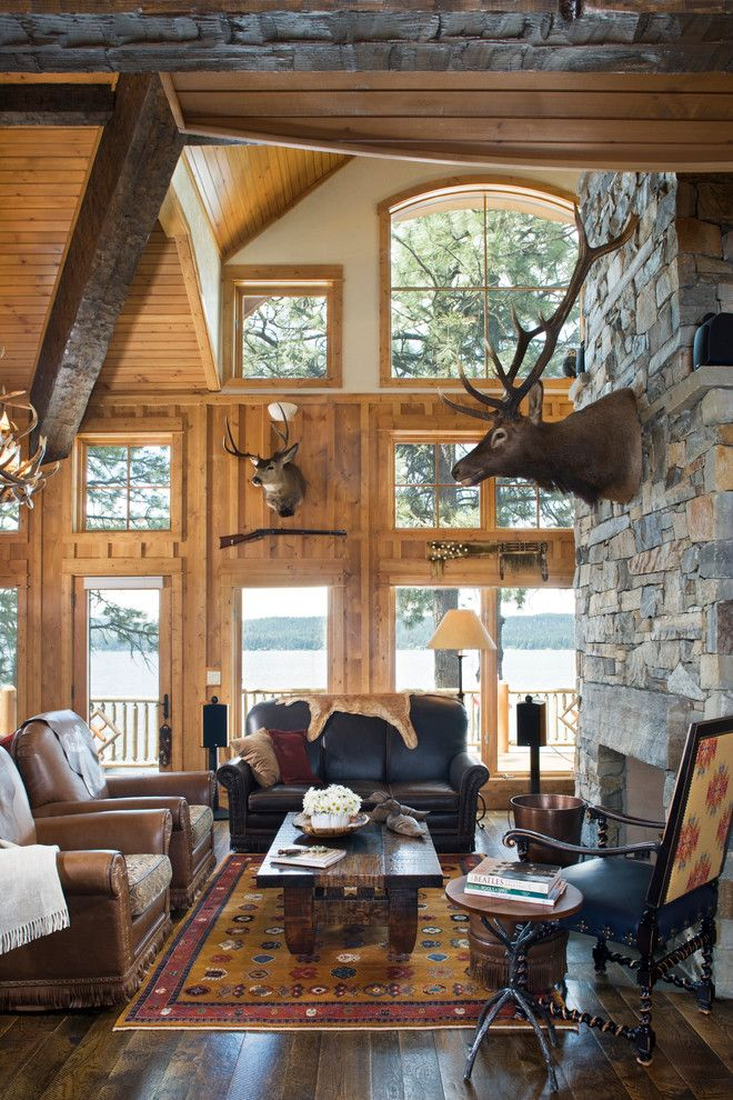 Echo Lemoyne for a Rustic Living Room with a Lake Home and Lakeside Luxury Getaway by Mosscreek