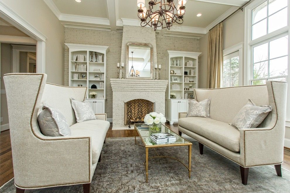 Edgecomb Gray for a Contemporary Living Room with a Chandelier and Brightlife/itor Idea House by Design Elite