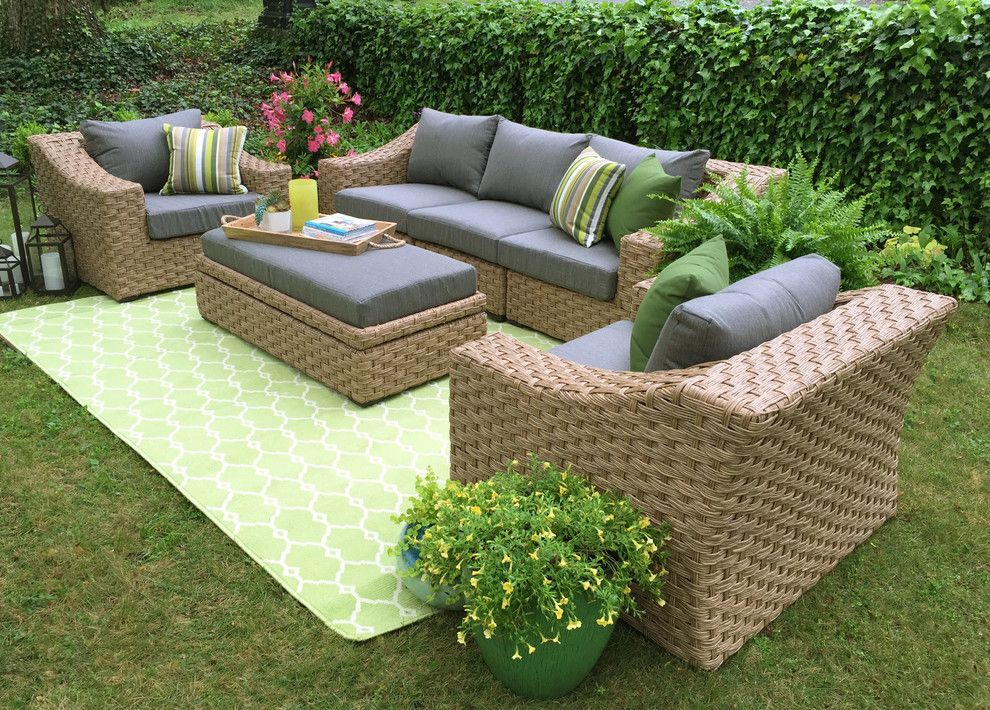 Edgecomb Gray for a  Patio with a Outdoor Rug and Ae Outdoor by Ae Outdoor