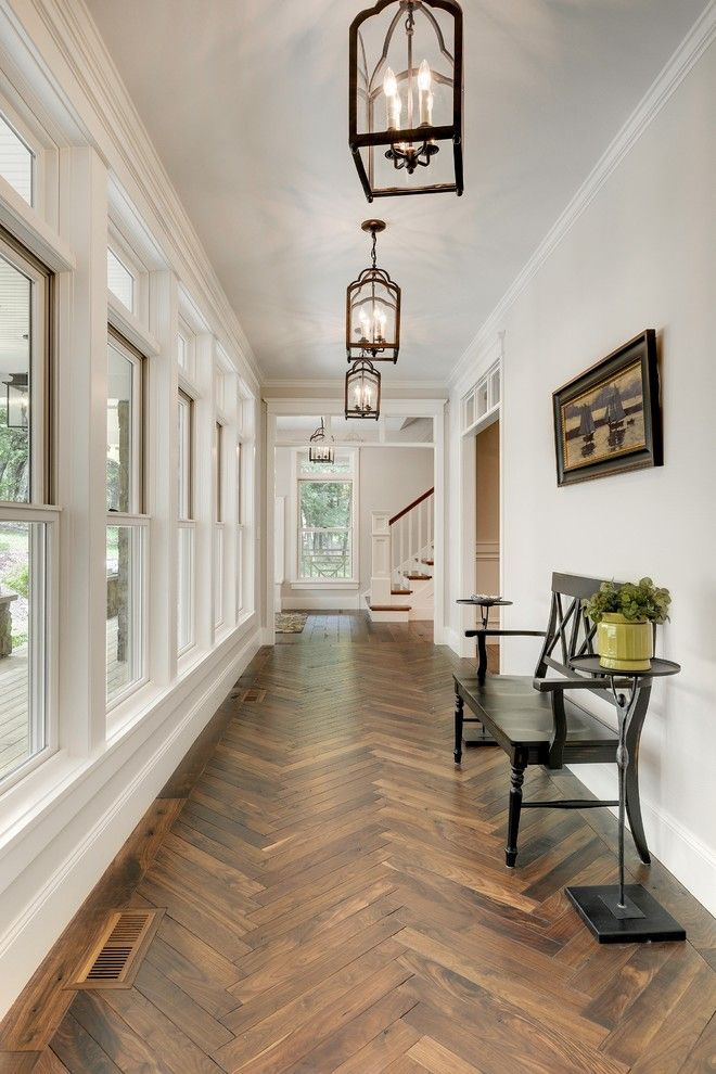 Edgecomb Gray for a Transitional Hall with a Dark Wood Bench and Greeting Area by Divine Custom Homes