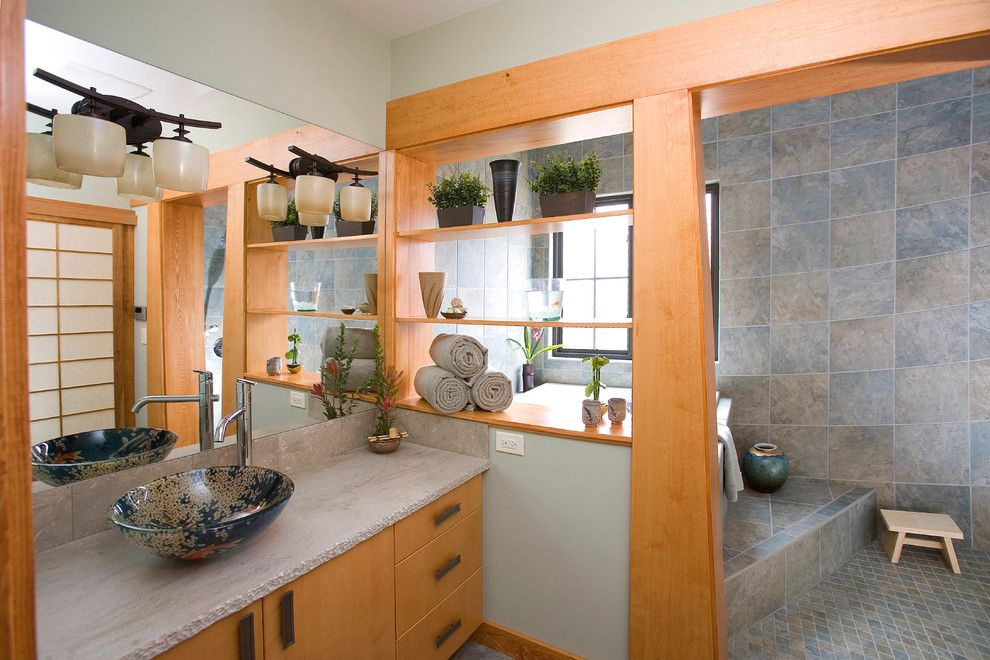 Efaucets for a Asian Bathroom with a Gray Countertop and Oaks Residence by Andrewjames Builders