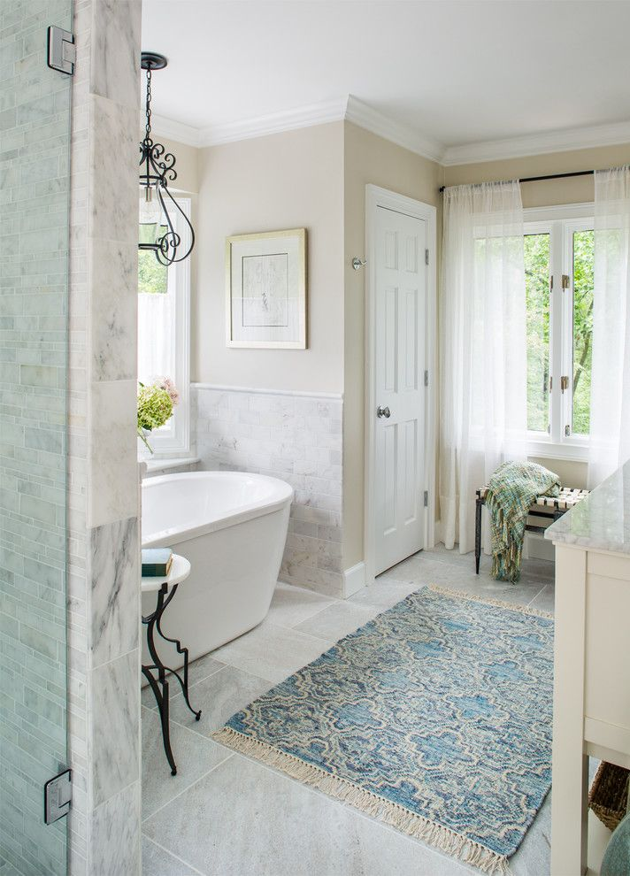 Efaucets for a Transitional Bathroom with a Bathroom Lighting and Paces Neighborhood   Atlanta, Ga by Beth Kooby Design