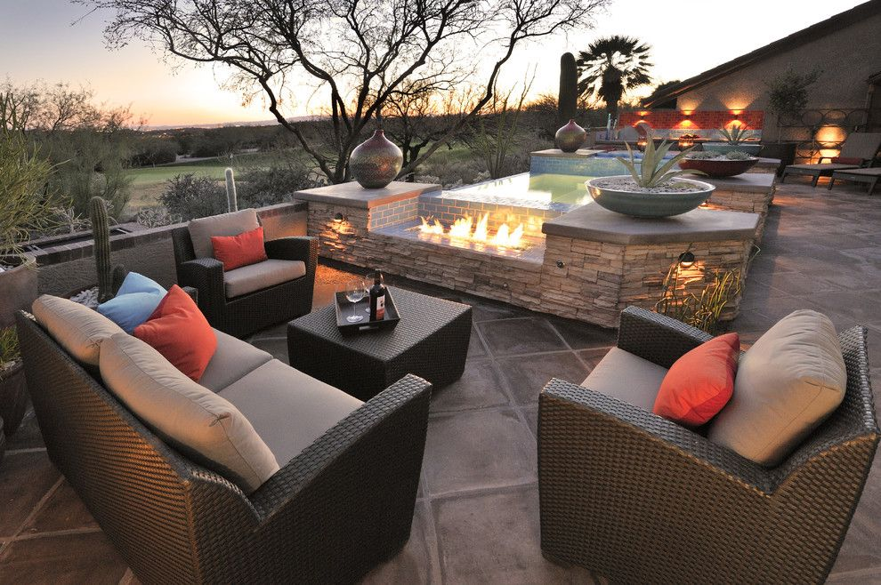 Efo Furniture for a Southwestern Patio with a Pool and Prideaux Design by Prideaux Design