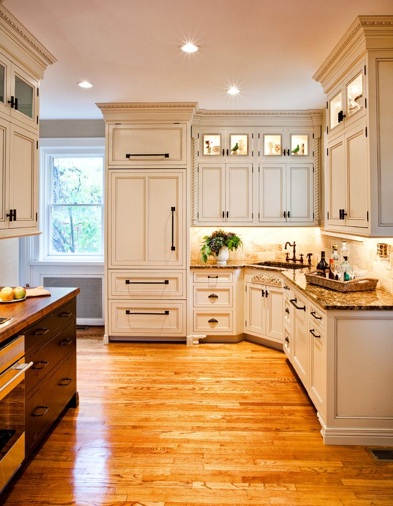 Eggshell vs Satin for a Traditional Kitchen with a Cabinetry Covered Refrigerator and Kingsbury by Karr Bick Kitchen and Bath