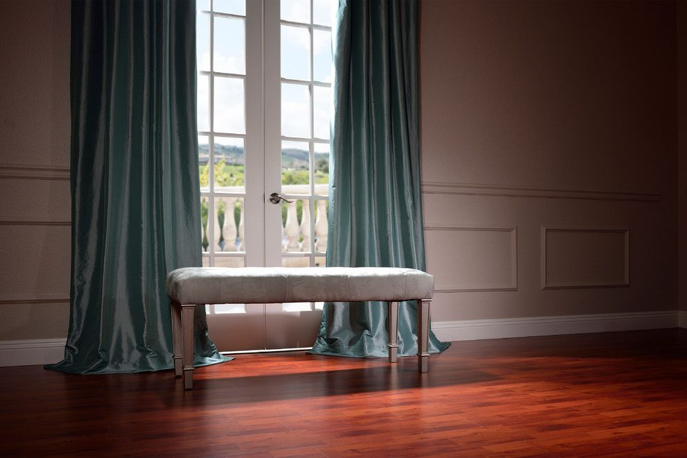 Eggshell vs Satin for a Traditional Living Room with a Gray Bench and Half Price Drapes by Halfpricedrapes