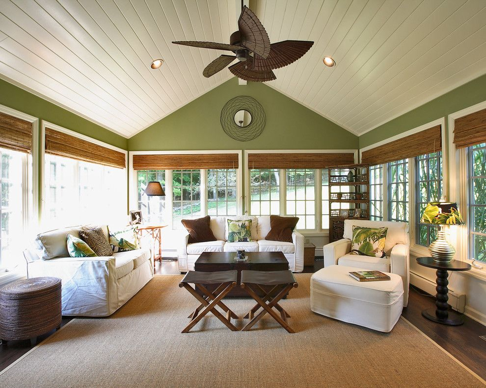 Eggshell vs Satin for a Traditional Sunroom with a Sloped Ceiling and Plantation Sunroom by Olga Adler