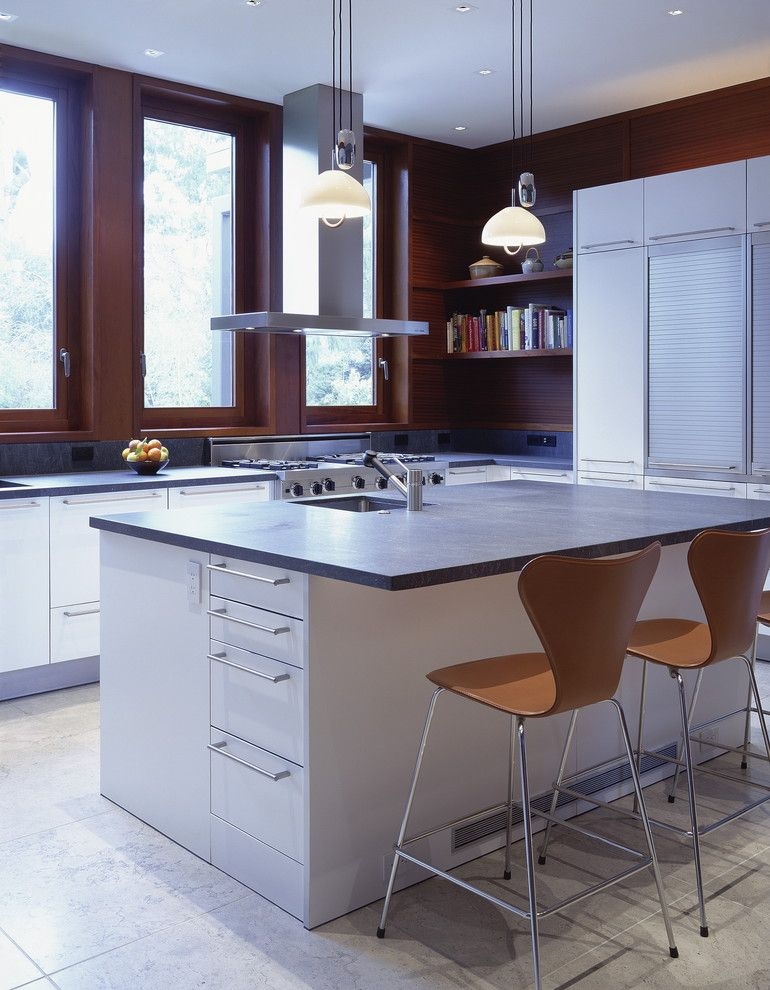 Ehrlich Architects for a Modern Kitchen with a Series 7 Barstools and Waldfogel Residence by Ehrlich Architects
