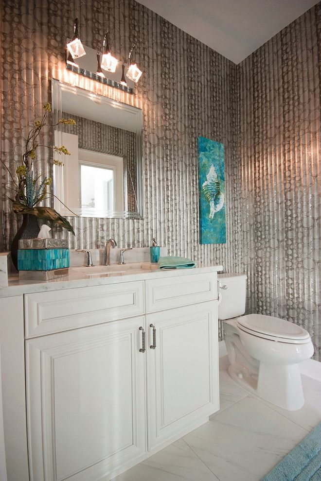 Elan Lighting for a Beach Style Powder Room with a Pool Bath and Giardullo by Lori Manning Designs