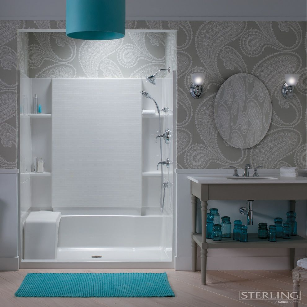 Elan Lighting for a Contemporary Bathroom with a Blue Vases and Sterling Plumbing by Sterling Plumbing
