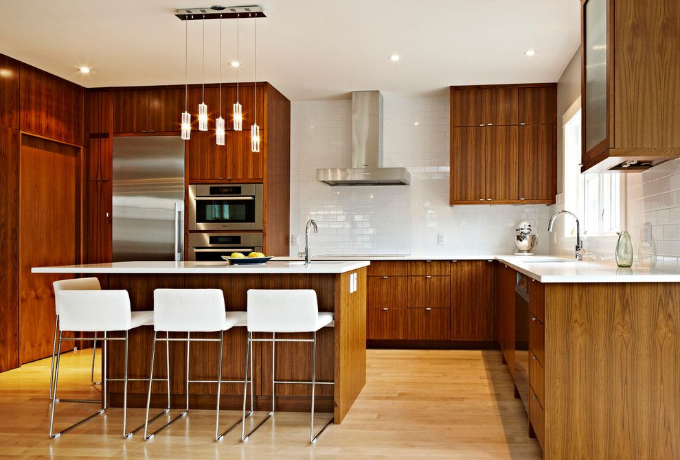 Elan Lighting for a Contemporary Kitchen with a Subway Tile and Garden Street Kitchen by Creative Millwork & Design Ltd