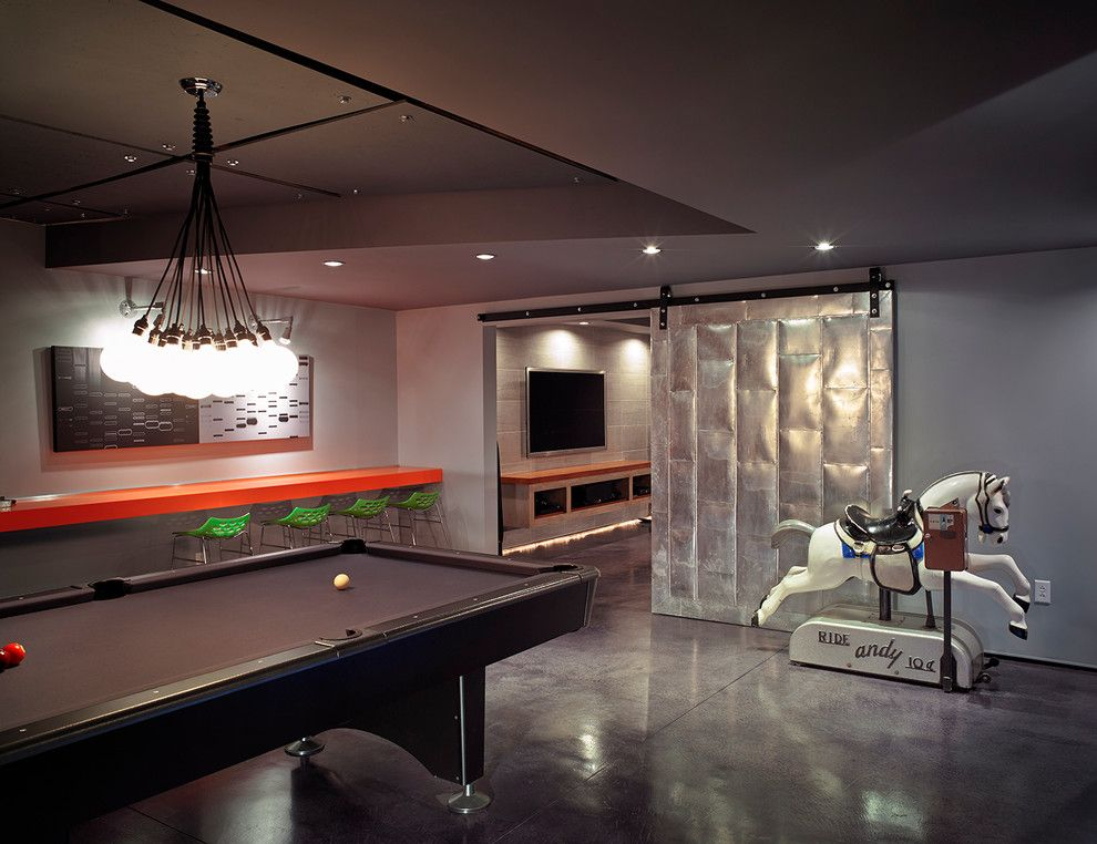 Elan Lighting for a Modern Basement with a Sliding Barn Door and Recreational Haven by Donahoe Group