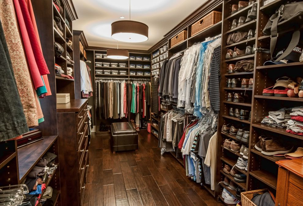 Elan Lighting for a Traditional Closet with a Pendant Lighting and Custom Traditional New England Home in Brentwood, Ca by Structure Home