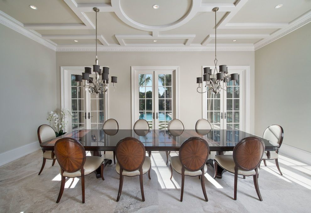 Elan Lighting for a Traditional Dining Room with a Large Dining Table and Gin Lane by Dixie Stevenson