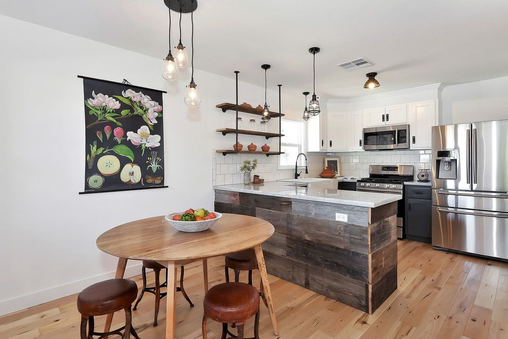 Electric Schoolhouse for a Eclectic Kitchen with a Industrial Shelves and Havelock Project by Kenihan Development